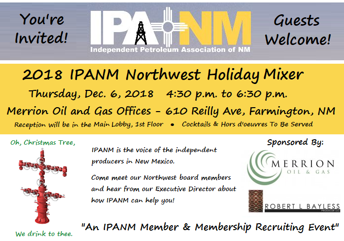 IPANM Northwest Holiday Mixer set for Dec. 6 at Merrion Oil & Gas offices in Farmington