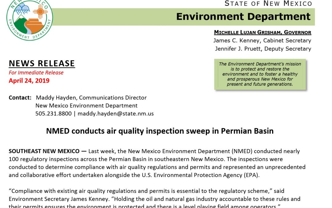 NMED & EPA conduct emissions inspections in Permian